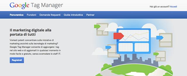 pagina iscrizione google tag manager